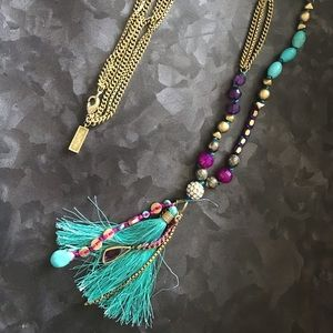 Silpada KR brand long brass and beaded necklace